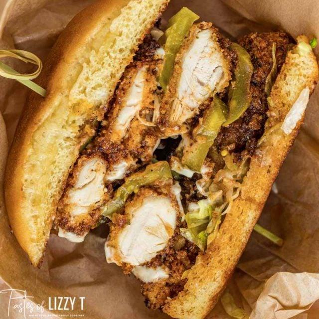 half of a spicy chicken sandwich