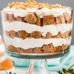 closeup of a cream cheese carrot cake trifle