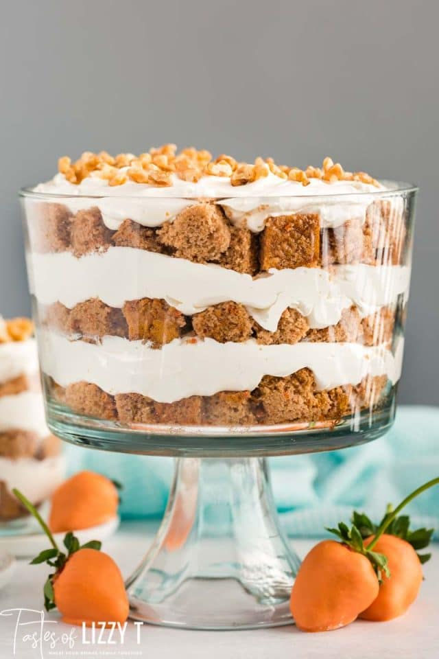 carrot cake trifle in a pretty glass dish