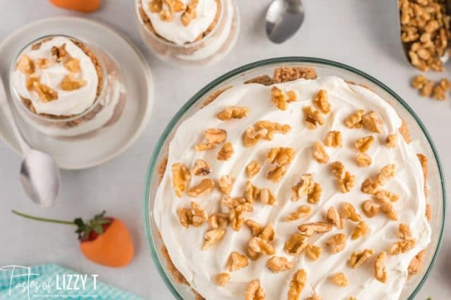 overhead view of a carrot cake trifle