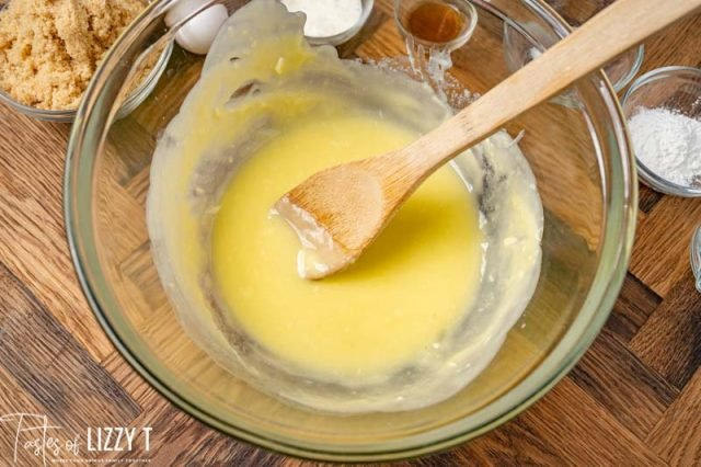 melted butter in a mixing bowl