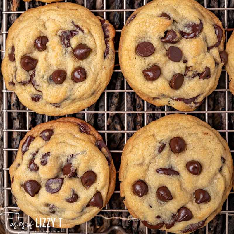 easy chocolate chip cookies on a wire rack