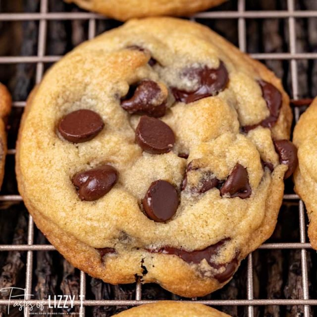 closeup of a cookie on a wire rack
