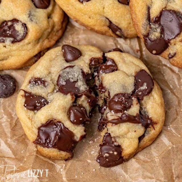 closeup of a cookie broken in half