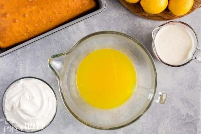 lemon jello in a mixing bowl