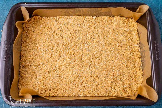 graham cracker crust in a pan