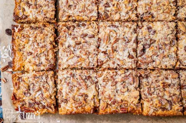 overhead view of cut seven layer bars