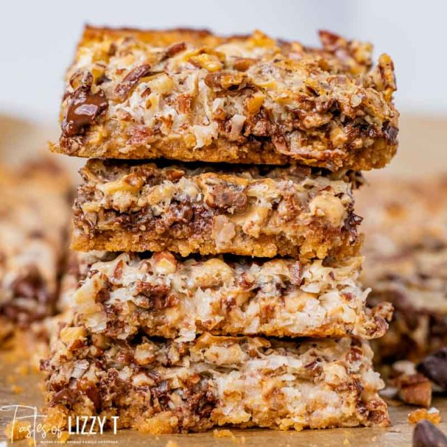 stack of 7 layer cookie bars