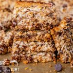 stack of coconut cookie bars