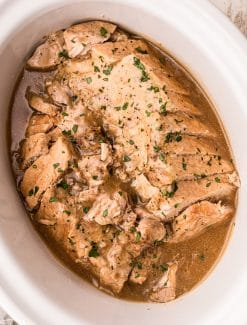 overhead view of pork loin in a slow cooker