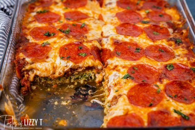zucchini pizza bake with one piece missing
