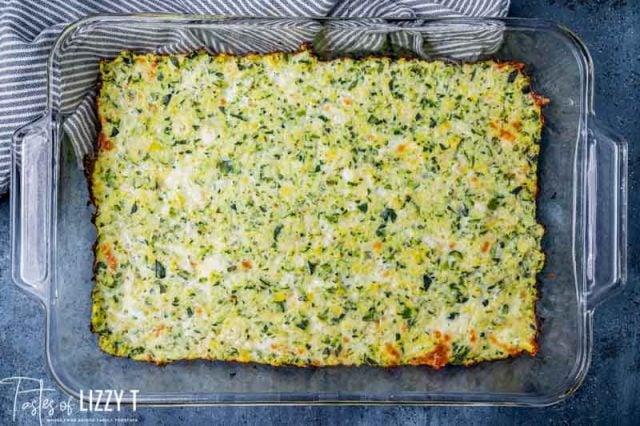 zucchini pizza crust in a pan
