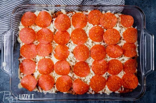 unbaked pizza casserole in a pan
