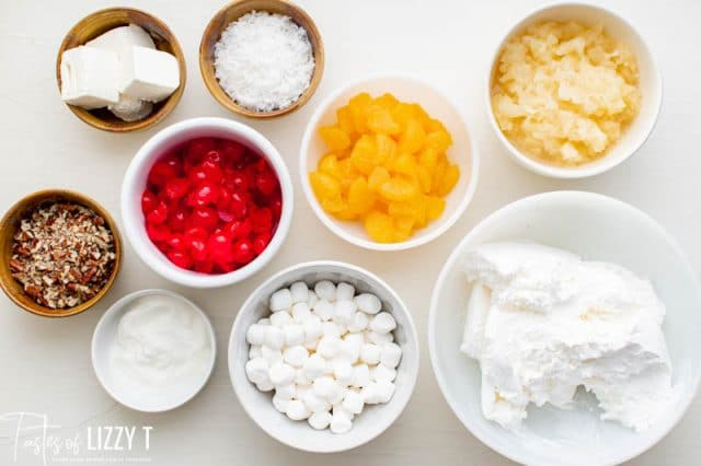 ingredients for ambrosia salad on a table