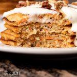 closeup of a stack of carrot cake pancakes