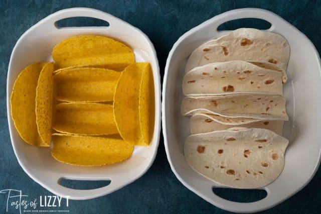 taco shells in a baking dish