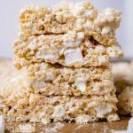 stack of marshmallow rice krispie treats