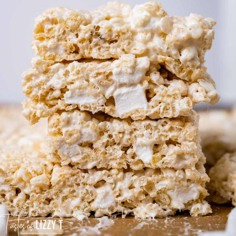 stack of marshmallow rice krispie treats