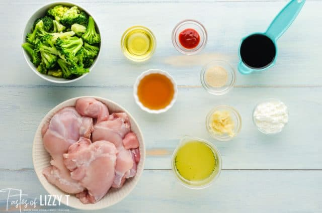 ingredients for broccoli chicken on a table