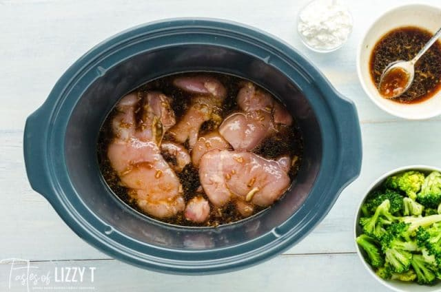 uncooked chicken in a slow cooker