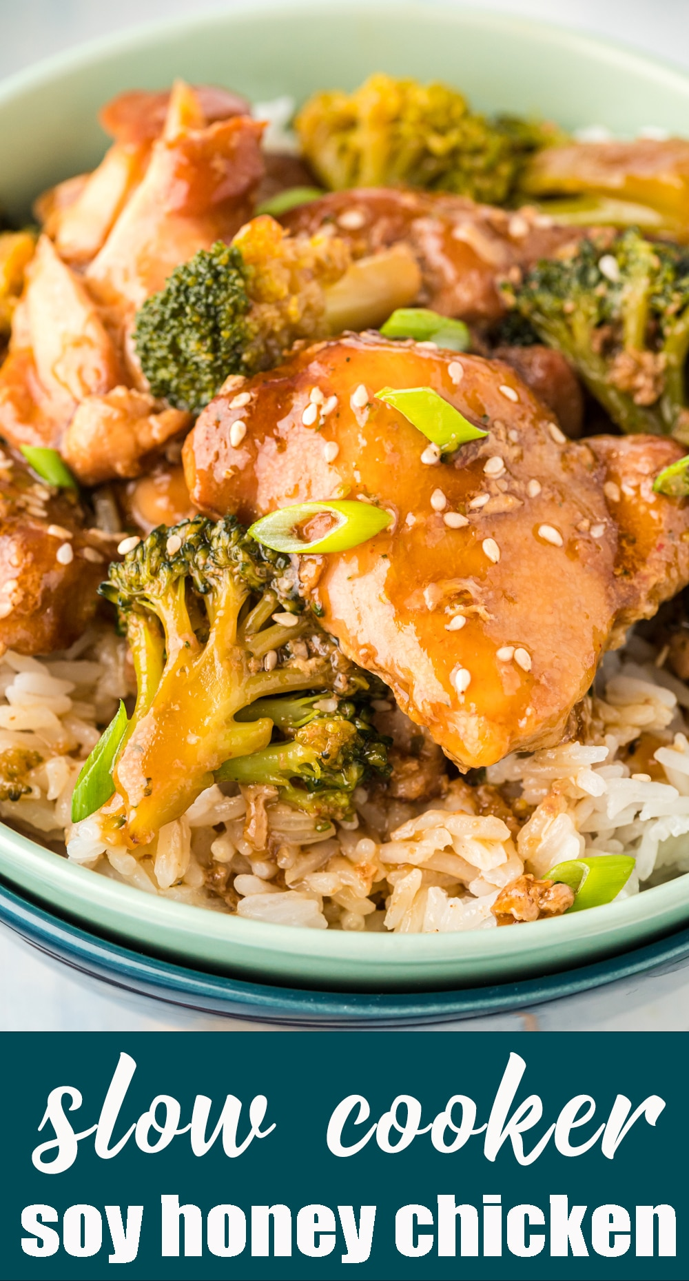 An easy dinner idea for busy weeknights. This slow cooker honey soy chicken & broccoli is served over rice for a complete meal with delicious flavor. via @tastesoflizzyt