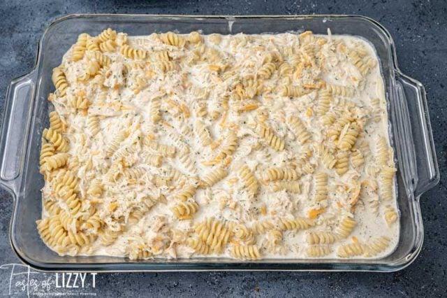 cheesy pasta in a baking dish