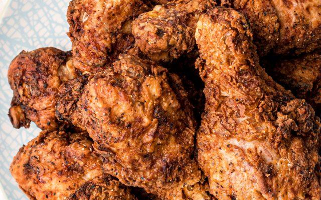 plate full of crispy fried chicken