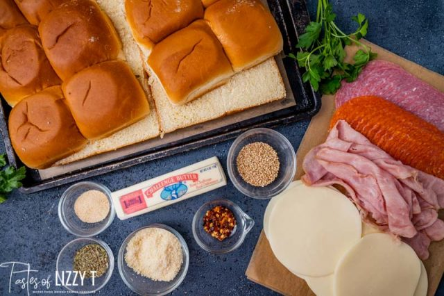 ingredients for pizza slider sandwiches