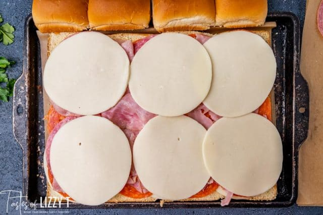 cheese and lunchmeat on sandwiches