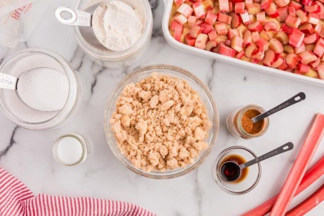 streusel ingredients on a table