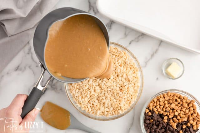 pouring caramel sauce over cereal