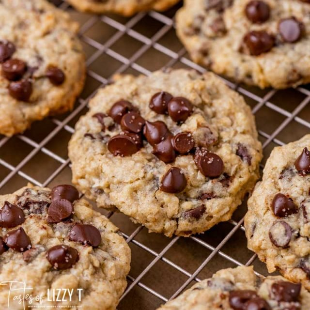 loaded chocolate chip cookies on a wire rack