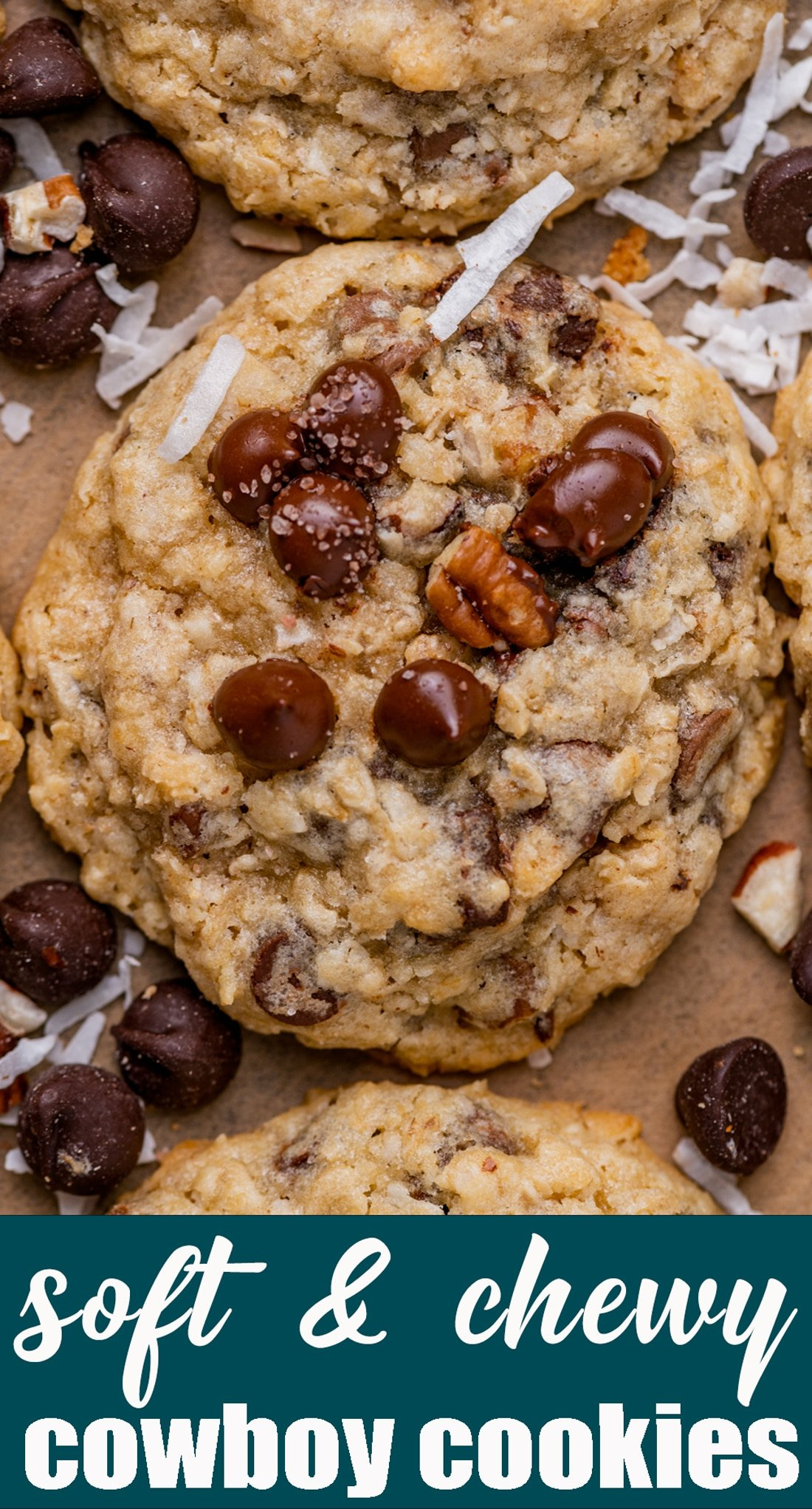 A fun version of an oatmeal cookie, these chewy Cowboy Cookies are loaded with pecans, coconut and chocolate chips. No refrigeration needed! via @tastesoflizzyt