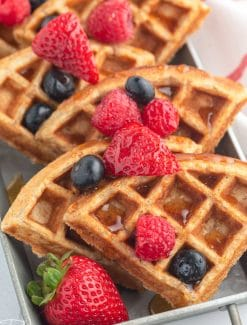 waffle triangles with fresh berries