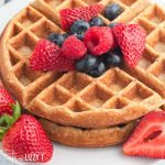 closeup of waffles with berries