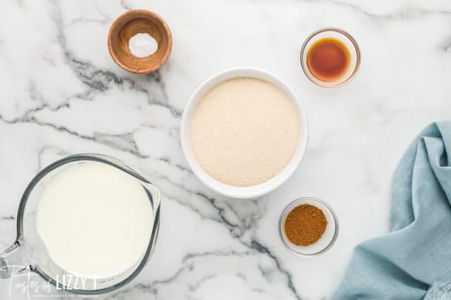 ingredients for dulce de leche on a table