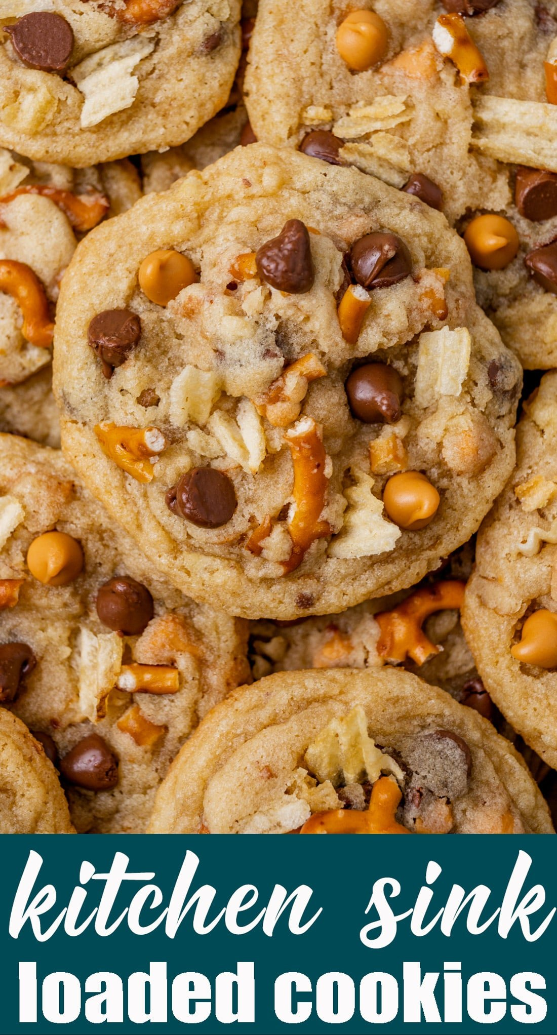Clean out your cupboards and make these sweet & salty Kitchen Sink Cookies. Butterscotch, chocolate, potato chips and pretzels in soft, chewy cookies. via @tastesoflizzyt