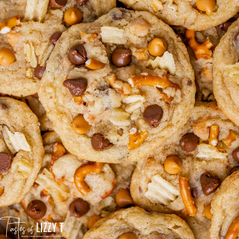 an overhead shot of a pile of kitchen sink cookies
