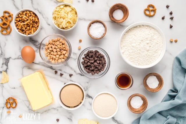 ingredients for kitchen sink cookies on a table