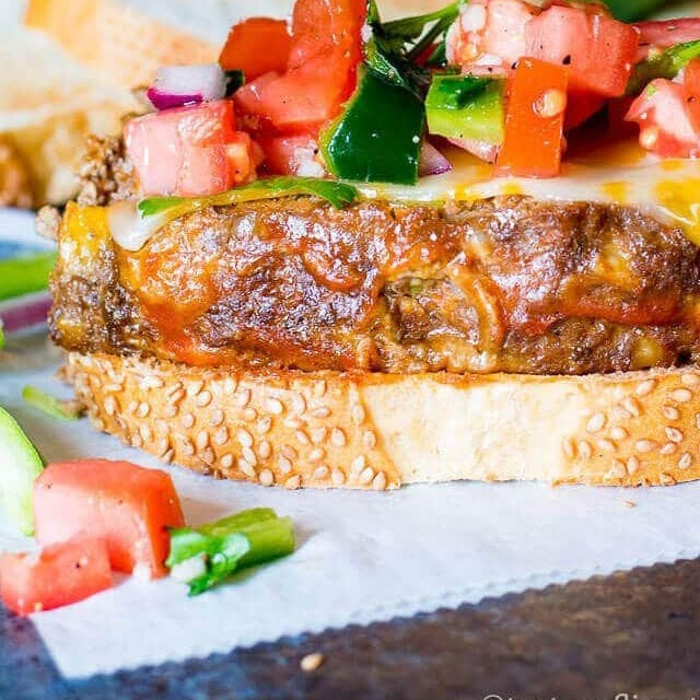 mexican meatloaf with pico de gallo on bread