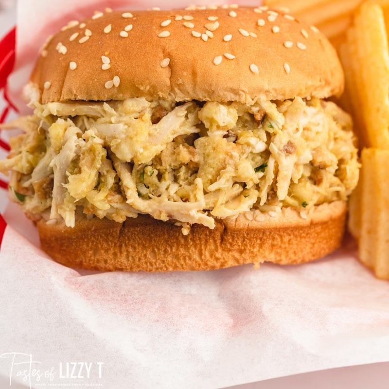 closeup of a chicken sandwich on a sesame bun