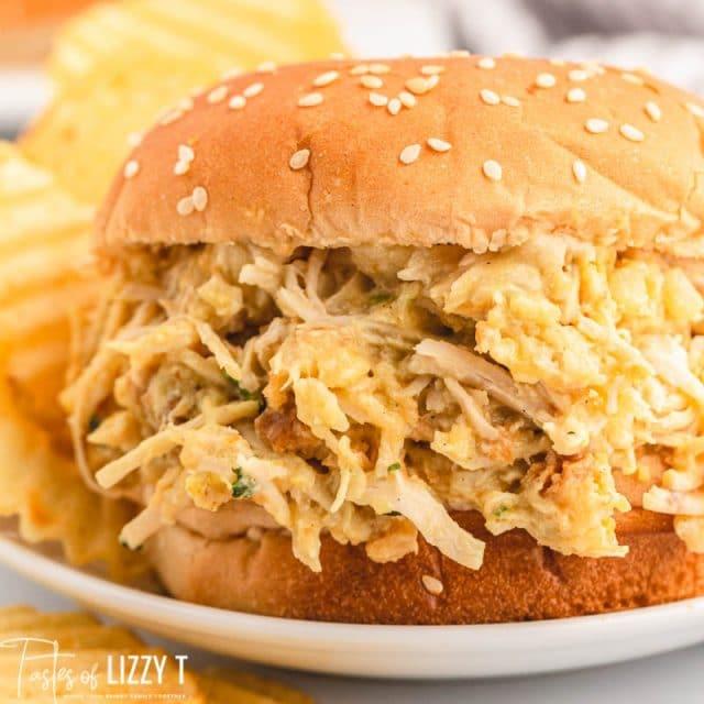 closeup of a chicken sandwich