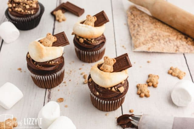 overhead view of 3 s'more cupcakes