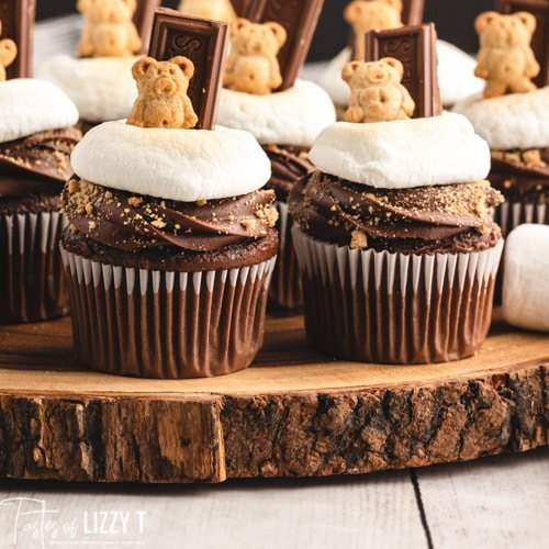 cupcakes on a wood slice