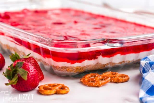 strawberry pretzel dessert in a pan