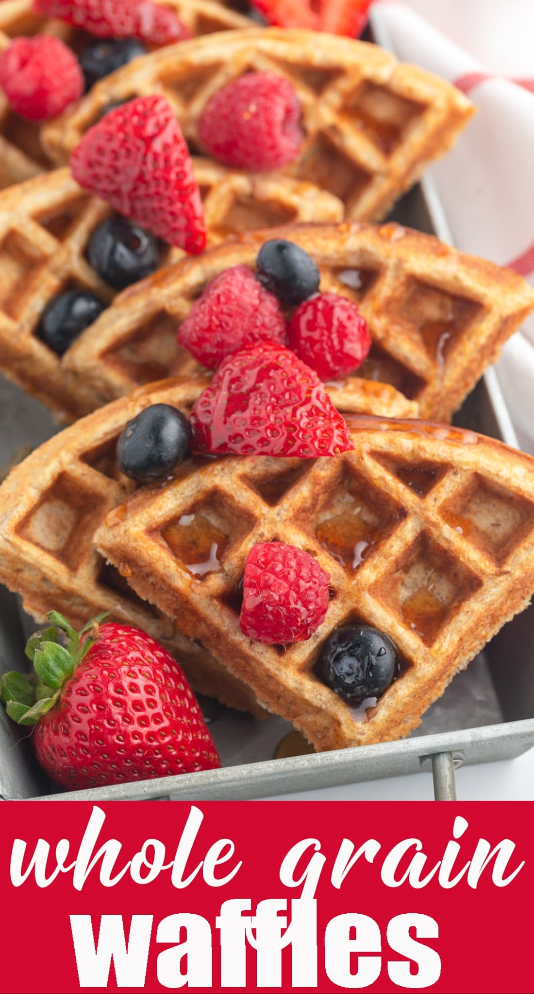 Need more fiber and heart-healthy nutrients in your diet? Try these Hearty Whole Grain Waffles for a great start to your morning. They are low in fat and sugar. Make up a big batch, freeze them and pull them out when you need them! via @tastesoflizzyt