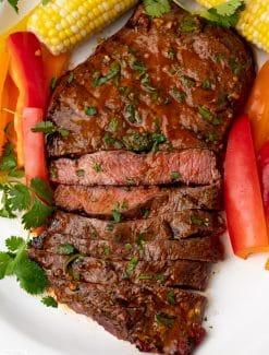 overhead view of a flat iron steak
