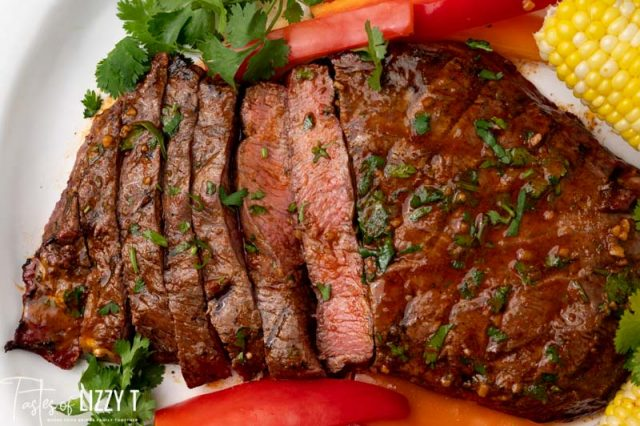 closeup of chili lime flat iron steak