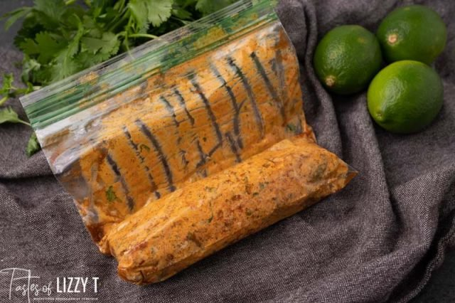 chili lime butter in a zippered bag