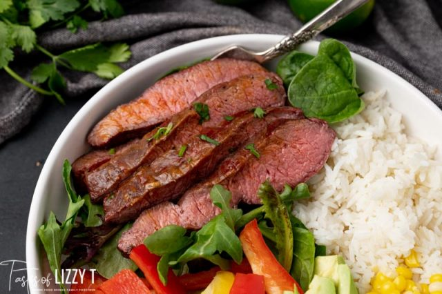 slices of steak in a bowl